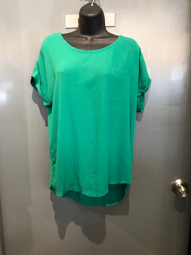 Pleione green sheer blouse sz large