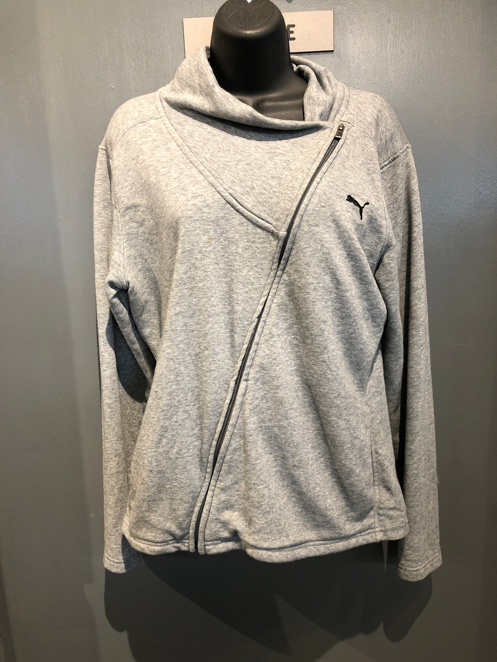 Puma grey zip up sweatshirt size large