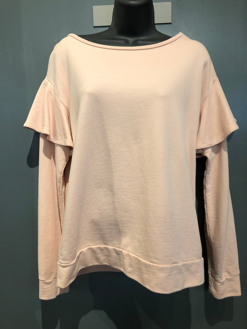 Pink sweatshirt with ruffle sleeves size small