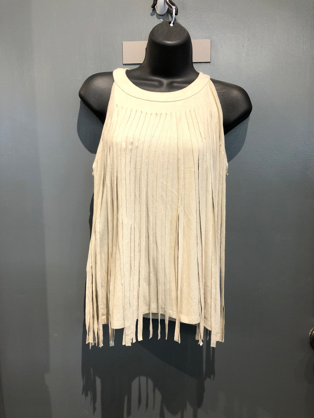 Beige fringe sleeveless top size s/m