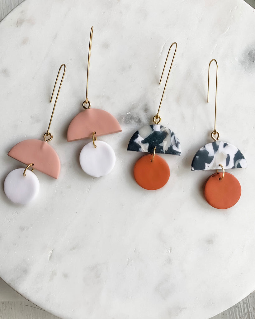 Drop Earring - Marble & Terracotta