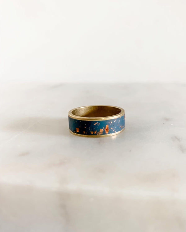 Brass Ring - Navy Teal & Copper