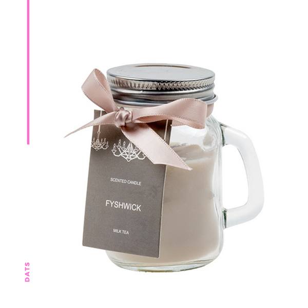 Candle Scented in Mason Jar with Lid Milk Tea 5 x 8cms