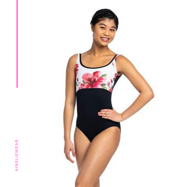 Low Back Tank Leotard with Rosebud Print AW117RO