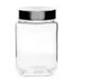 Glass Jar Square with Stainless Steel Lid 700mls 9x9x14cms