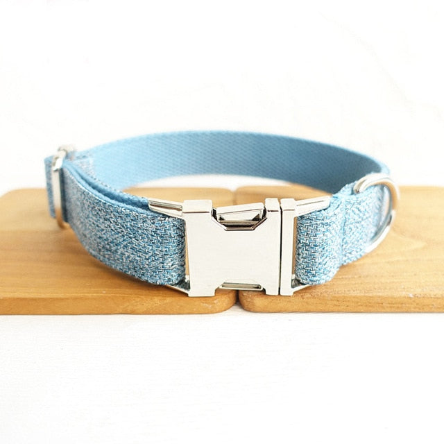 light blue Personalized pets Collar