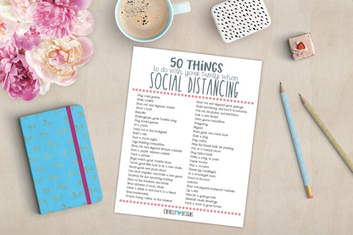 {FREEBIE} 50 Things To Do With Your Family When Social Distancing | Printable - Instant Digital Download