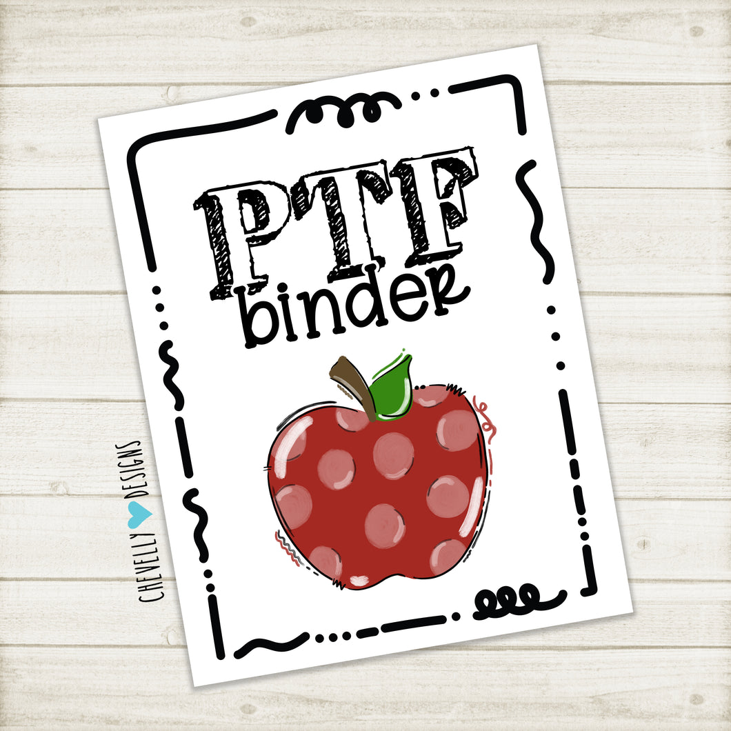 Printable PTF Binder Cover - Instant Digital Download