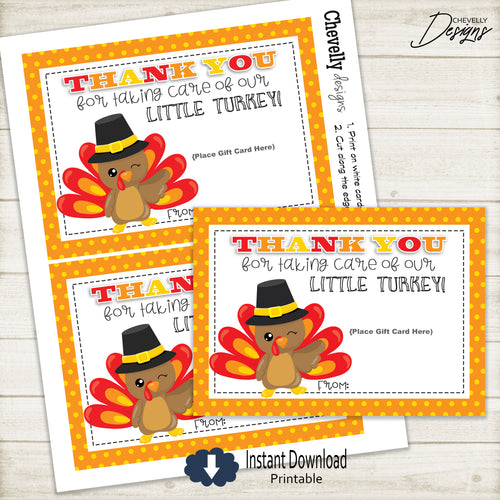 Turkey Gift Card Printable - Instant Digital File