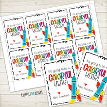 Load image into Gallery viewer, Personalized Back to School Gift Tags for Crayons - Colorful Year - Printable Digital File