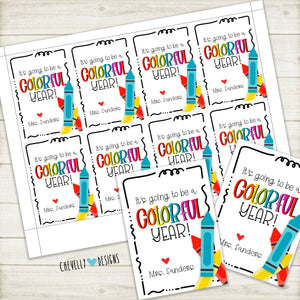Personalized Back to School Gift Tags for Crayons - Colorful Year - Printable Digital File