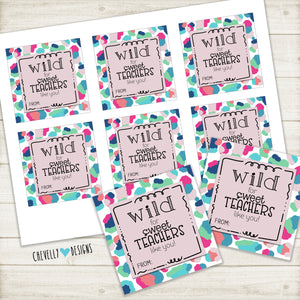 Printable Colorful Leopard Print Gift Tags for Teacher Treats - Instant Digital Download