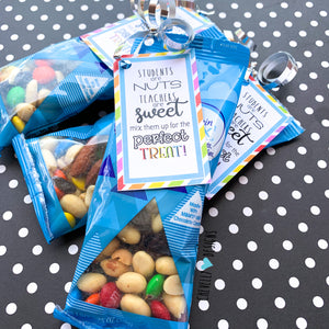 Printable Trail Mix Gift Tags for Teacher Treats - Instant Digital Download