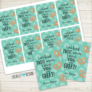 Personalized Appreciation Gift Tags for Pretzels | Printable ***Printable Digital File***