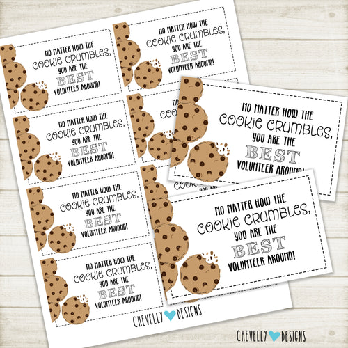 Volunteer Appreciation Gift Tags | COOKIE crumbles | Instant Digital Download