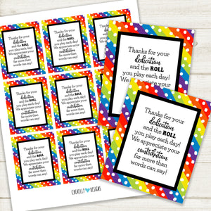 Thanks for the ROLL you play - Employee Appreciation Tootsie Roll Treat Tags | Printable - Instant Digital File