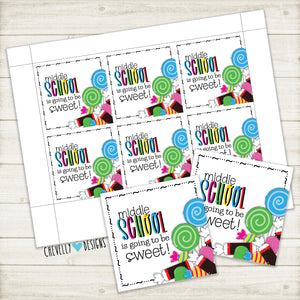 "Printable ""Middle School is going to be Sweet"" Gift Tags - Instant Digital Download"