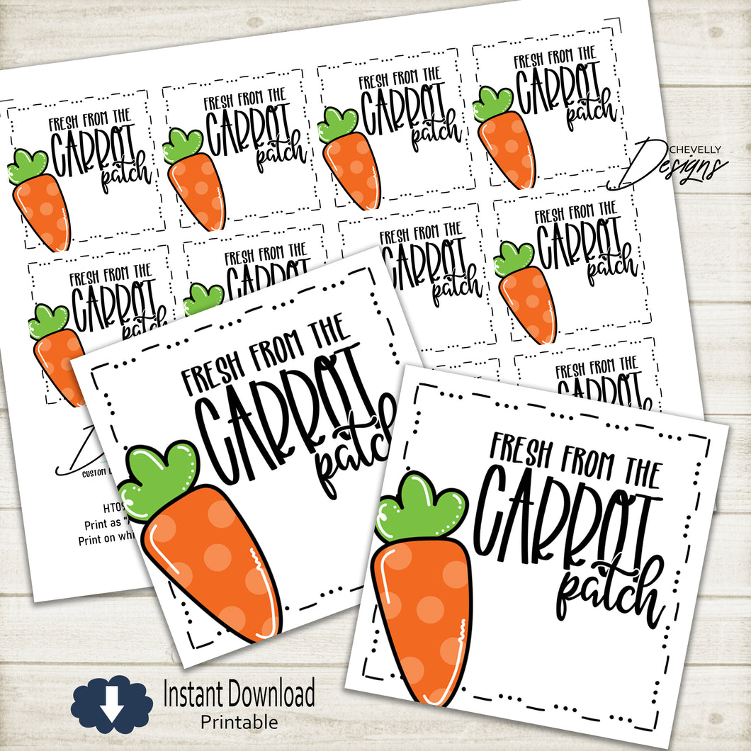 Fresh From the Carrot Patch - Easter Gift Tags | Printable - Instant Digital File