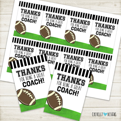 Football Coach Thank You Gift Tags >>>Instant Digital Download<<<