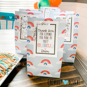 Personalized COLORFUL Party Favor Gift Tags | Printable - Digital File | HT102