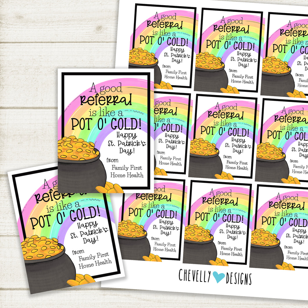 Personalized - St. Patrick's Day Pot of God (Referral) Gift Tags ***Printable Digital File***