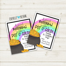 Load image into Gallery viewer, Personalized - St. Patrick's Day Pot of God (Referral) Gift Tags ***Printable Digital File***