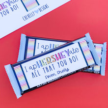 Load image into Gallery viewer, Personalized Hershey Bar Appreciation Gift Labels | Printable - Digital File