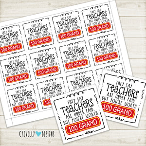 Teacher Appreciation Gift Tags for 100 Grand Candy Bars | Instant Digital Download