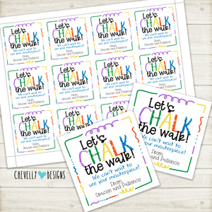 "Personalized ""CHALK THE WALK"" Gift Tags ***Printable Digital File***"