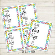 "Load image into Gallery viewer, Personalized ""Working with You is de-LIGHT-ful"" Gift Tags ***Printable Digital File***"