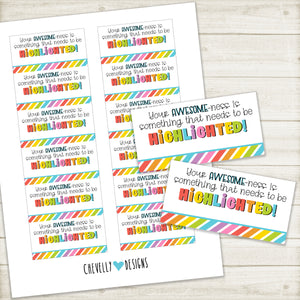 Printable Gift Tags to HIGHLIGHT how awesome someone is | Instant Digital Download