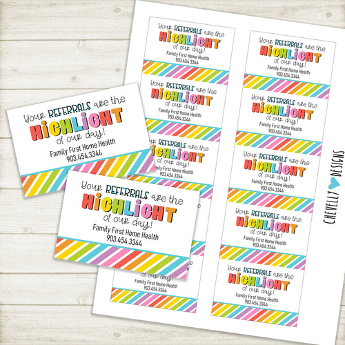 Personalized - Printable Highlighter Gift Tags for Business Referrals ***Printable Digital File***