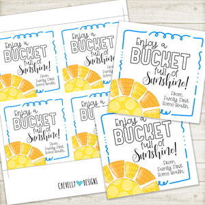 "Personalized ""Bucket full of Sunshine"" Gift Tag ***Printable Digital File***"