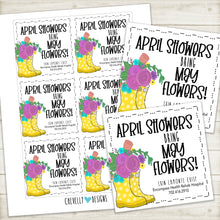 "Load image into Gallery viewer, Personalized ""April Showers bring May flowers"" Gift Tag with Rainboots and flowers ***Printable Digital File***"
