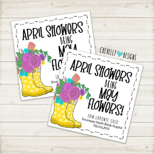 "Personalized ""April Showers bring May flowers"" Gift Tag with Rainboots and flowers ***Printable Digital File***"