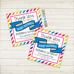 "Personalized ""Scent-sational Referral Source"" Business Gift Tags ***Printable Digital File***"