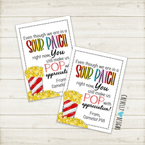 "Personalized ""Sour Patch...You make us POP with Appreciation"" Printable Tags - Sour Patch and Popcorn Tags ***Printable Digital File***"
