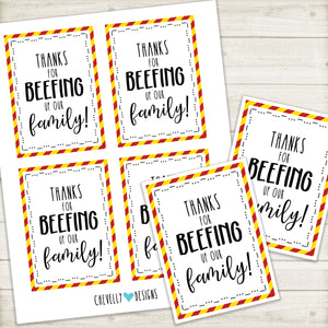 Printable Beef Jerky Gift Tags for Foster Families | Instant Digital Download