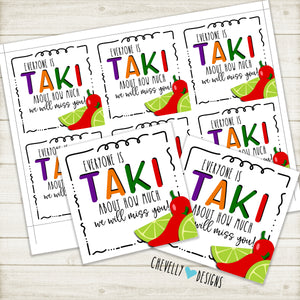 "Printable ""We will miss you"" Takis Gift Tags - Instant Digital Download"