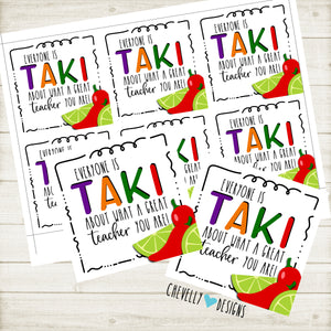 Printable Back to School Takis Gift Tags for Teacher Treats - Instant Digital Download