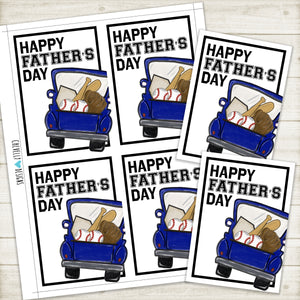 Printable Baseball Father's Day Gift Tags-Cards - Instant Digital Download