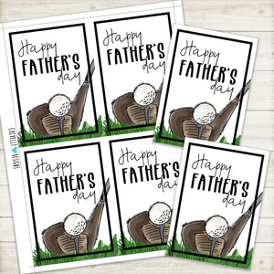 Printable Golf Father's Day Gift Tags-Cards - Instant Digital Download