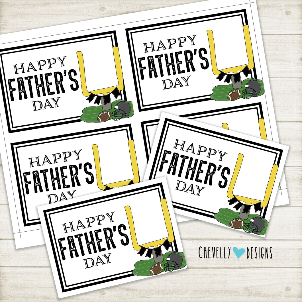 Printable Football Father's Day Gift Tags-Cards - Instant Digital Download