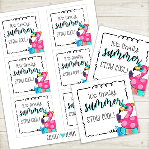 Finally Summer Flamingo Popsicle - Printable Gift Tags | Instant Digital Download