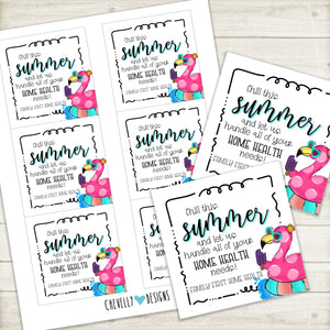 Personalized Summer Gift Tags for Home Health Needs - Flamingo, Popsicle - Printable Digital File