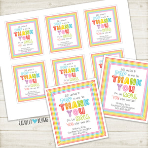Personalized Gift Tags - POP in and Thank You for the ROLL you play - Printable Digital File