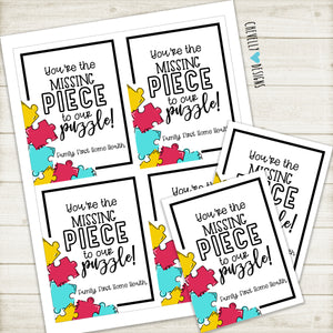 Personalized - Missing Piece to our Puzzle - Business Marketing Gift Tags ***Printable Digital File***