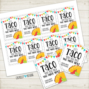 Personalized - TACO bout how much we miss you - Gift Tags ***Printable Digital File***