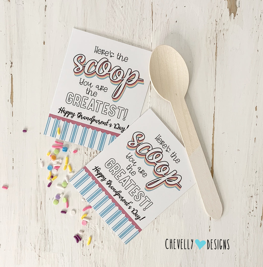 Printable - Here's the Scoop - Grandparent's Day Gift Tags - Instant Digital Download