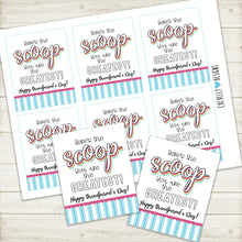 Load image into Gallery viewer, Printable - Here's the Scoop - Grandparent's Day Gift Tags - Instant Digital Download